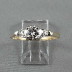 Bague 3 diamants, 14K or jaune et blanc B4476-1