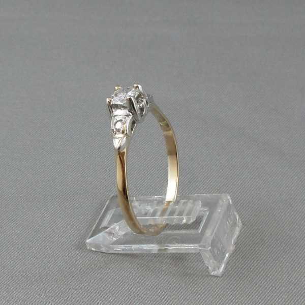 Bague 3 diamants, 14K or jaune et blanc B4476-2