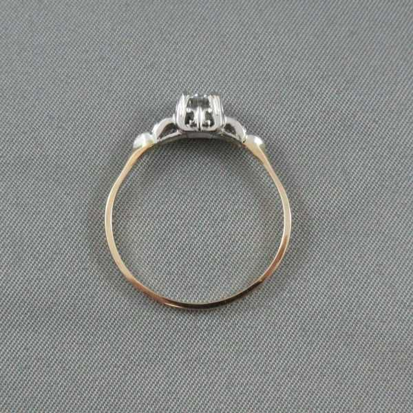 Bague 3 diamants, 14K or jaune et blanc B4476-3