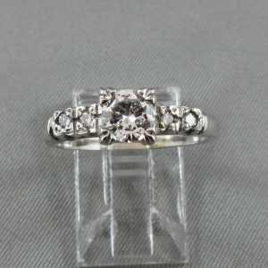 Bague 5 diamants 14K or blanc B4537-1