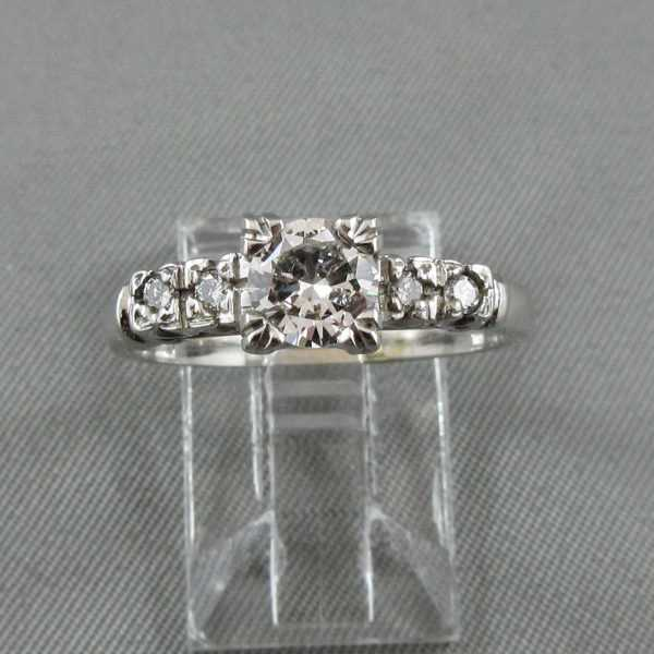 Bague 5 diamants 14K or blanc B4537-1
