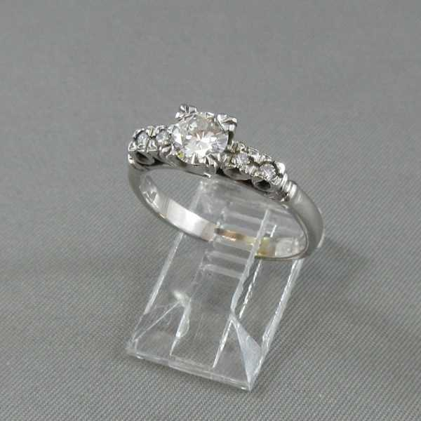 Bague 5 diamants 14K or blanc B4537-2