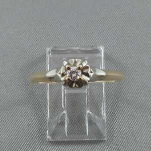 Bague petit diamant, 14K or jaune 18K or blanc B4541-1-1