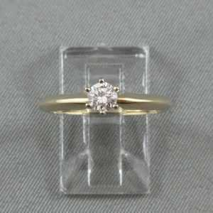 Bague Un diamant, 14K or jaune B4549-1