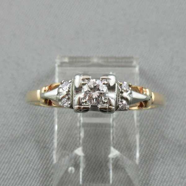 Bague Diamants 14K or jaune 18K or blanc B4577-1-1