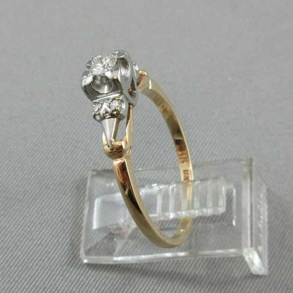 Bague Diamants 14K or jaune 18K or blanc B4577-2-1