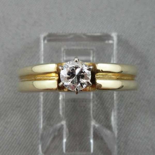 Bague Un diamant, 10K or jaune 14K or blanc B4655-1-2