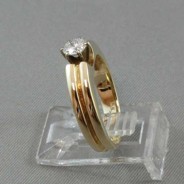 Bague Un diamant, 10K or jaune 14K or blanc B4655-2-1