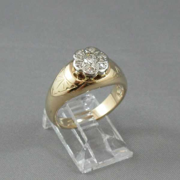 Bague 7 diamants 14K or jaune et 18K or blanc B4667-3