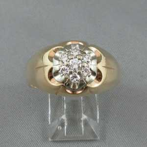 Bague Motif de fleur diamants 10K or jaune B4826-1