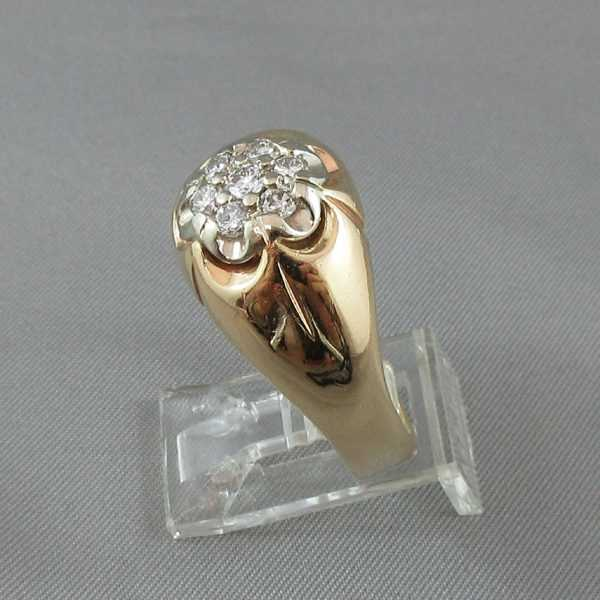 Bague Motif de fleur diamants 10K or jaune B4826-2