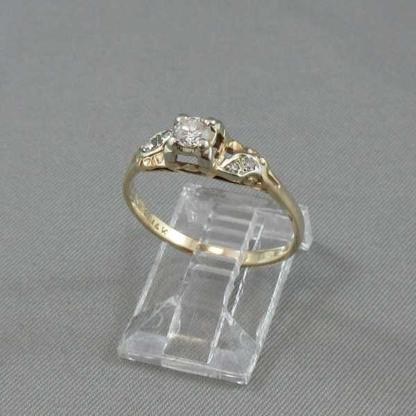 Bague 5 diamants 14K or jaune 18K or blanc B4878-3