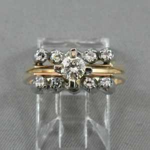 Bague et jonc avec diamants 14K jaune 18K blanc B5299-1-1