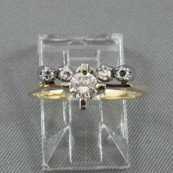 Bague et jonc avec diamants 14K jaune 18K blanc B5299-4