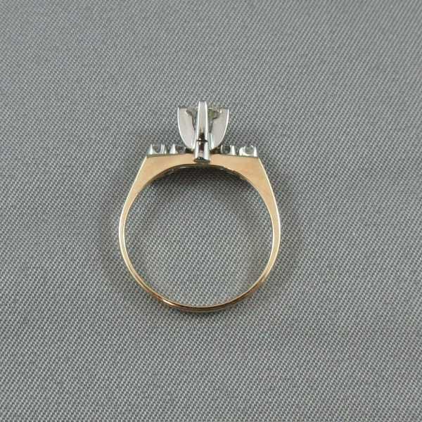 Bague et jonc avec diamants 14K jaune 18K blanc B5299-6