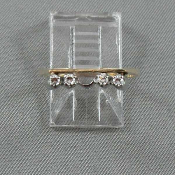 Bague et jonc avec diamants 14K jaune 18K blanc B5299-7