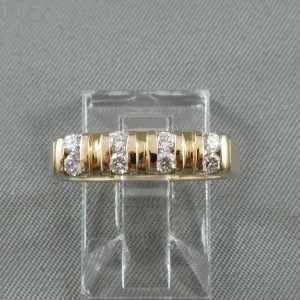Jonc 8 diamants 14K or jaune B5317-1