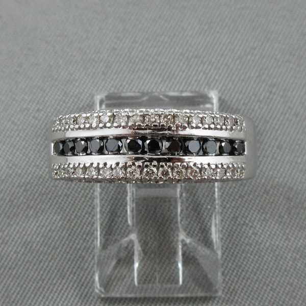 Jonc Diamants noirs et blancs,14K or blanc B5323-1-1