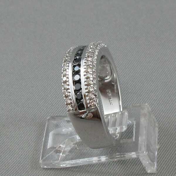 Jonc Diamants noirs et blancs,14K or blanc B5323-2-1