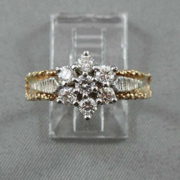 Bague 7 diamants, 14K or jaune et blanc B5611-1.-1