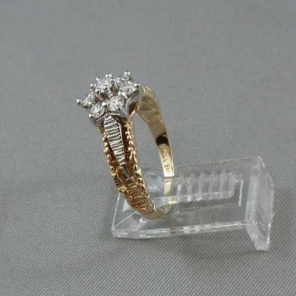 Bague 7 diamants, 14K or jaune et blanc B5611-2