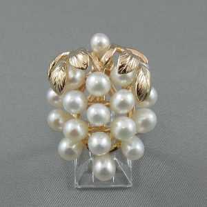 Grappe de raisins perles d'eau douce 14K jaune B5650-1