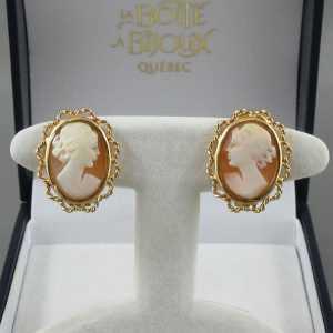 Boucles d'oreilles camée coquillage 18k or jaune B5806-1.jpg