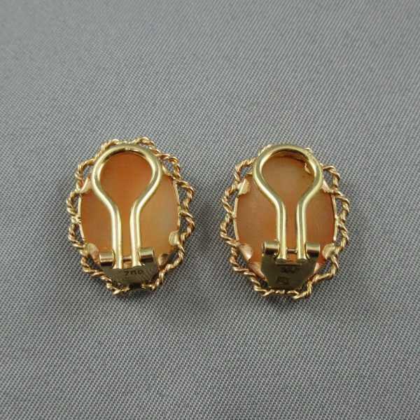 Boucles d'oreilles camée coquillage 18k or jaune B5806-4