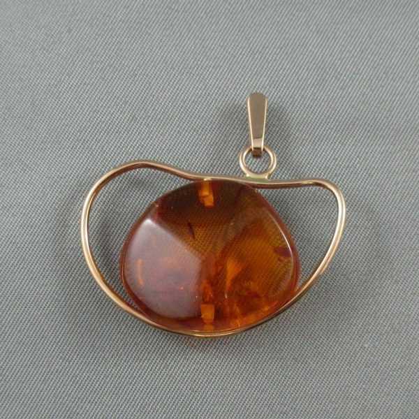 pendentif ambre 14k or rose B5825-1