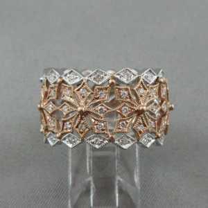 Jonc 48 diamants, 14K or rose et blanc B5834-1