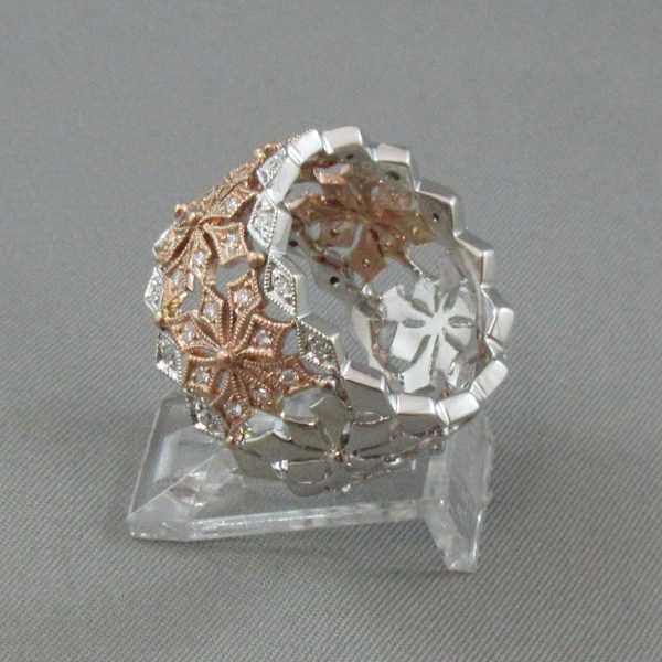 Jonc 48 diamants, 14K or rose et blanc B5834-2
