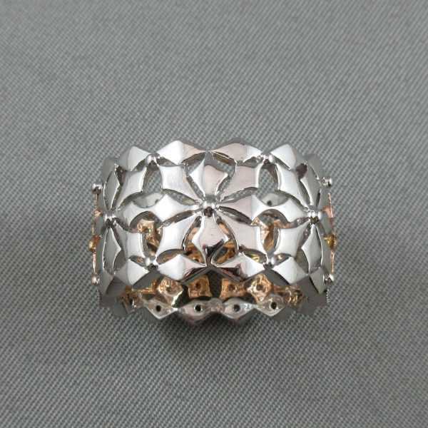 Jonc 48 diamants, 14K or rose et blanc B5834-3