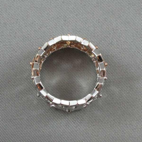 Jonc 48 diamants, 14K or rose et blanc B5834-4
