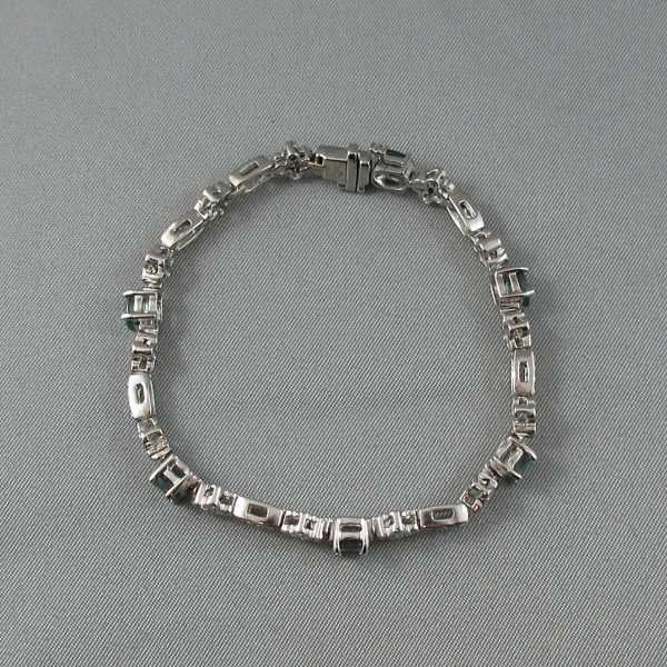 bracelet Alexandrites diamants 14K or blanc B5886-2