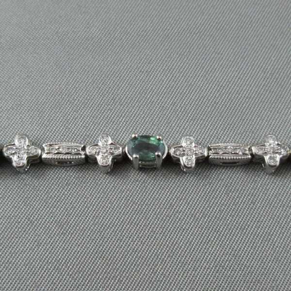 bracelet Alexandrites diamants 14K or blanc B5886-3