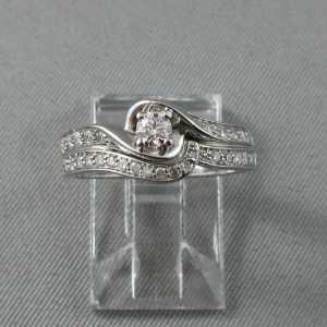 Bague 29 diamants, 10K or blanc B5887-1
