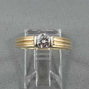 bague diamant 10k or jaune or blanc B5935-1