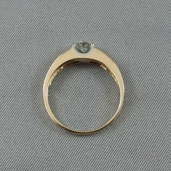 bague diamant 10k or jaune or blanc B5935-3