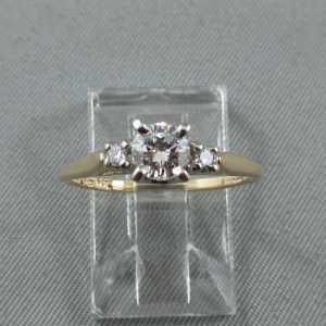 Bague 3 diamants 14K B5943-1