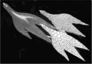 Les fils d'Éos (dieu de l'aube); broche dessinée par Georges Braque et fabriquée par Heger de Loewenfel, en 1963; lapis-lazuli, or granulé, diamants sur platine. La source d'inspiration est une lithographie illustrant le recueil Cinq poésies en hommage à Georges Braque écrit par René Char. (Archives de l'auteure).