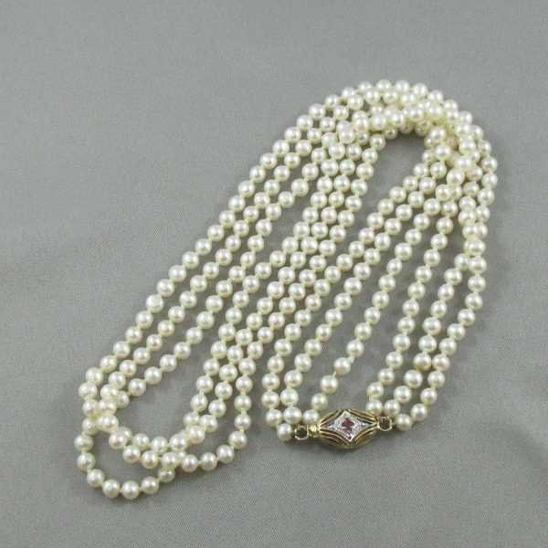 Collier perles d'eau douce rubis et saphir bleu 14K B6110-1