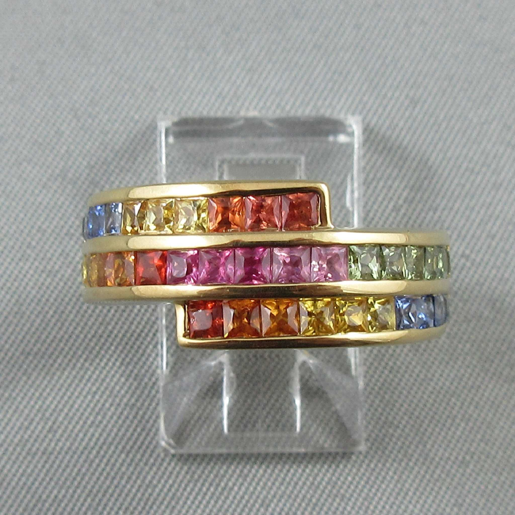 Multicolored sapphires, 18K yellow gold ring