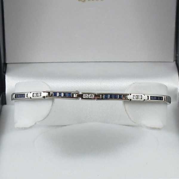 Bracelet saphirs bleus et diamants, 14K blanc B6149-1