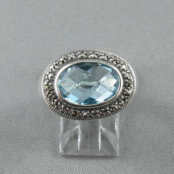 Ring blue topaz and marcasites B6170-1