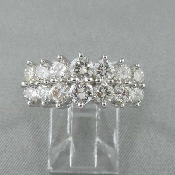 Ring 14 diamonds, 14K white B6184-1