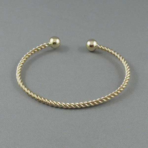 Bracelet rigide torsadé, 14K jaune, B6186-1