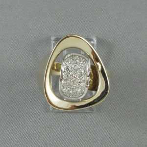 Bague 15 diamants, 14K, B6189-1