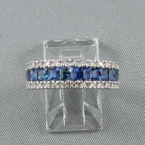 Bague saphirs bleus et diamants, 14K blanc, B6261-1