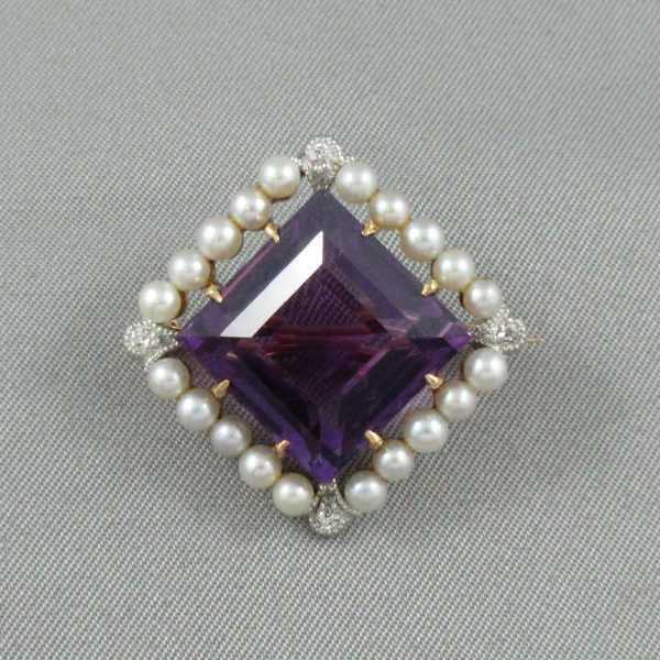 Broche améthyste, diamants et perles, 14K, B6281-1