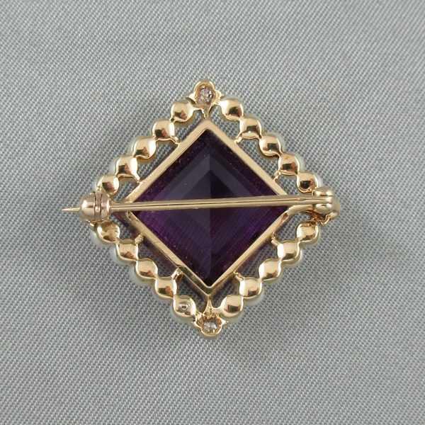 Broche améthyste, diamants et perles, 14K, B6281-2